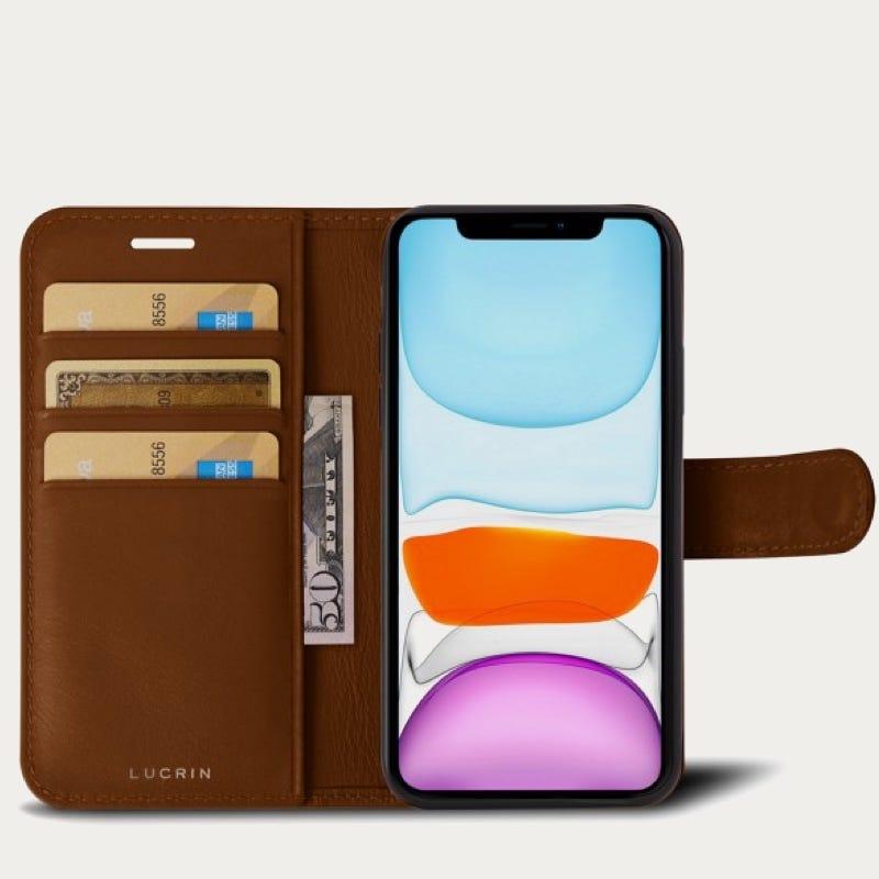 Portemonneehoesje voor iPhone 11 Pro Max - Tan - Soepel Leer