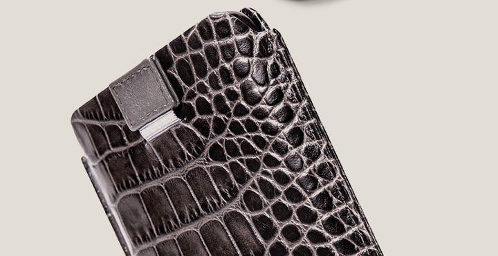 iPhone 11 Pro-hoes met trekriempje - Muisgrijs - Krokodilstijl Kalfsleer