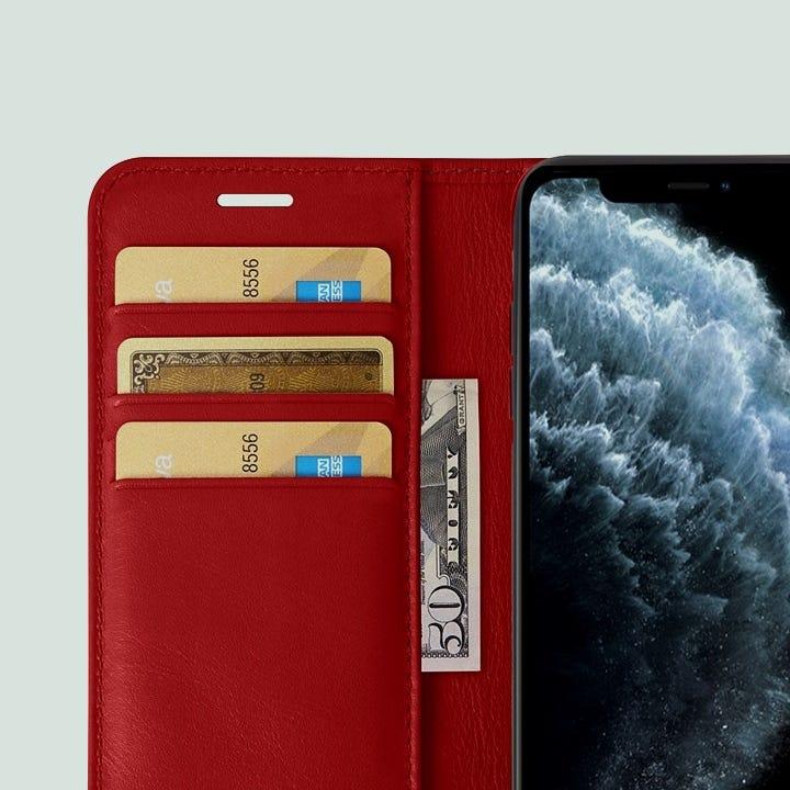 Portemonneehoesje voor iPhone 11 Pro Max - Rood - Soepel Leer