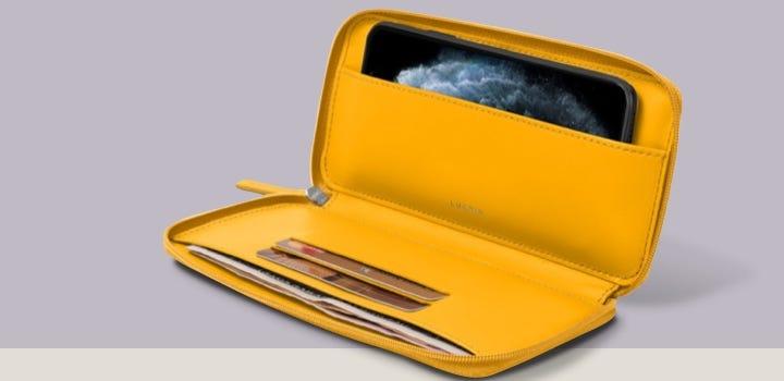 Portemonneehoesje met Ritssluiting voor iPhone 11 - Zonnegeel - Soepel Leer