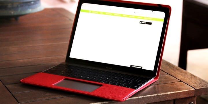 Hoes voor de 12 MacBook - Rood - Korrelig Leer